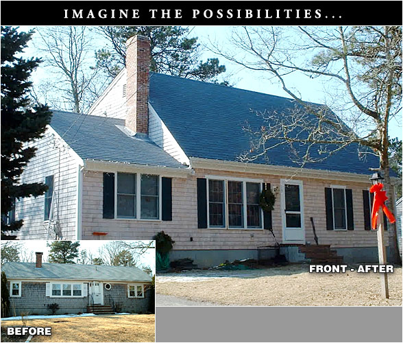 Remodeling before and after for Cape cod builder