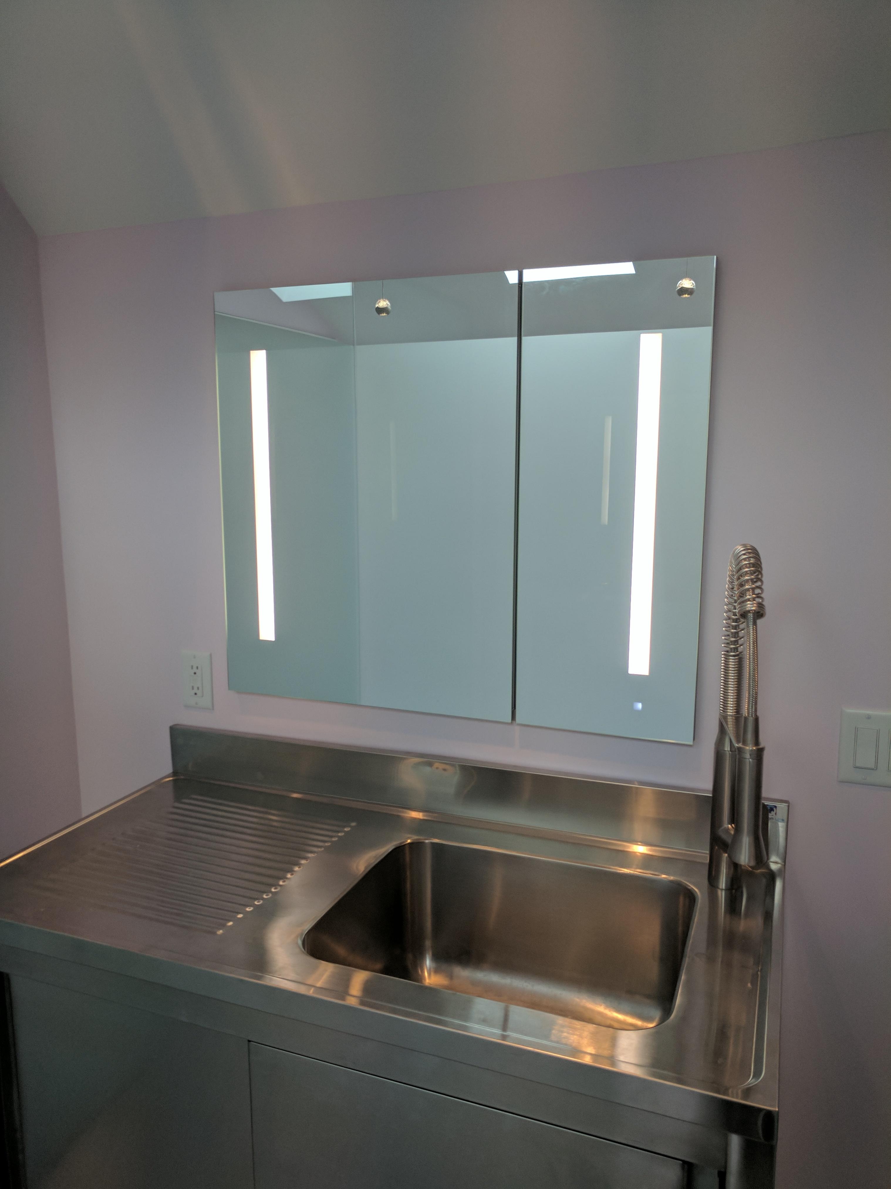 Stainless Vanity, Renovation, Remodeling, REEF builders, Cape Cod Builder