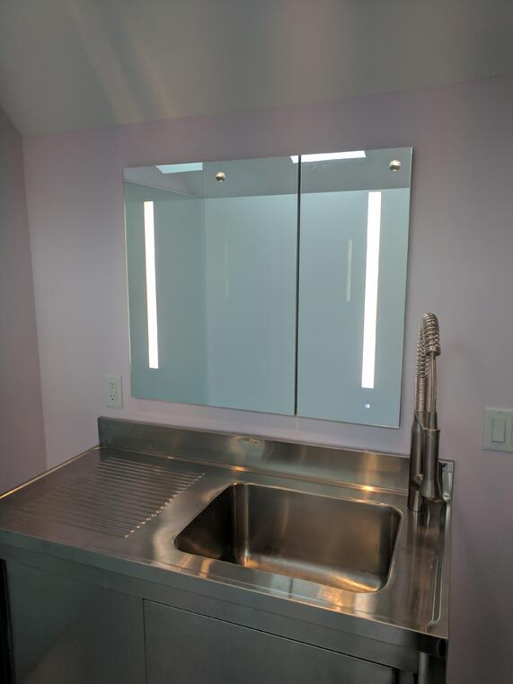 Stainless Vanity, Renovation, Remodeling, REEF builders, Cape Cod Builder